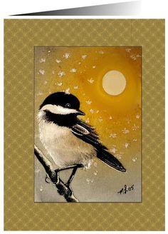 Mésange oiseau série de vœux de Noël cartes mélodie Lea agneau
