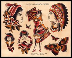 vintage native american tattoo flash - Google Search