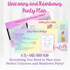 Unicorn Birthday Party, Unicorn and Rainbow Party Planning Guide, Girl Birthday Party