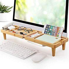Desktop Organizer Wood Bamboo, Small Desk Organizer Folding Keyboard Organizer-Pezin & Hulin Desk Organizer Shelf, Desk Shelves, Wood Shelves, Office Supply Organization, Desktop Organization, Organizing, Desktop Storage, Laptop Tray, Desk Supplies