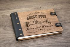 Wood Wedding Guestbook. Guest Book. Wedding date and names