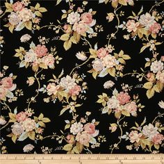 World of Romance Floral Black from @fabricdotcom  Designed by Robyn Pandolph for RJR Fabrics, this cotton print is perfect for quilting, apparel and home decor accents.  Colors include black, pink, light purple, light blue, cream, beige, and brown.