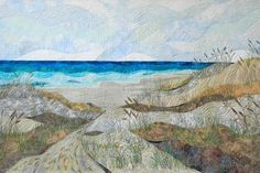 """Fiber Art Quilts-Commissions - Eileen Williams, """"Path to the Beach"""" 34 x 54 inches Commission for Emerald Isle, NC Beach House"""