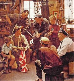 1945 - homecoming Marine - by Norman Rockwell