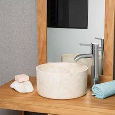 vasque salle de bain ronde à poser en marbre Ulysse 30 cm crème French Bathroom, Creme, Sink, Home Decor, Collection, Products, China Bowl, Gray Marble, Sink Tops