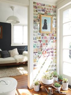 wall of photos.