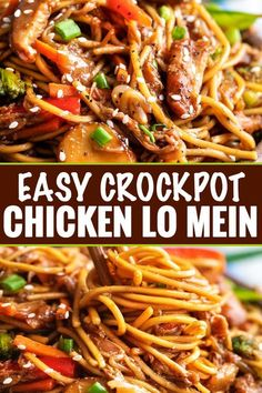 "crock pot recipes This Crockpot Chicken Lo Mein is the perfect weeknight meal! Packed with bold flavors, plenty of veggies, and with only 20 minutes of actual ""work"", it's a much better alternative to Chinese takeout. Crock Pot Recipes, Crockpot Dishes, Slow Cooker Recipes, Cooking Recipes, Healthy Recipes, Crockpot Asian Recipes, Crockpot Veggies, Healthy Lo Mein Recipe, Weeknight Recipes"