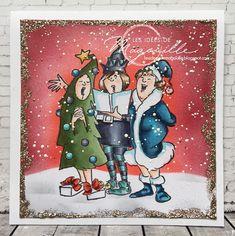 Art Impressions Merriest Set. Handmade girlfriends Christmas card.