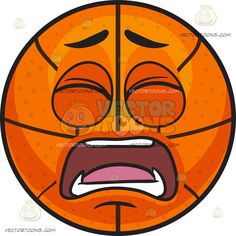 A Frustrated Basketball :  An inflated orange spherical rubber ball with black ribs divided into eight segments shuts its eyes as it parts its lips to yell in frustration and pain  The post A Frustrated Basketball appeared first on VectorToons.com.