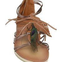Peacock Leaf Gladiator Sandal - Teen Clothing by Wet Seal