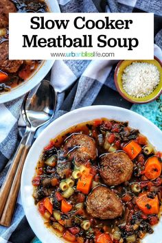 Slow Cooker Meatball Soup is a delicious fall dish that's so easy to make! Simply place all the ingredients into the crockpot and let it do it's thing. Recipe on UrbanBlissLife.com #slowcooker #soup #meatballs #crockpot #recipes #fallrecipes