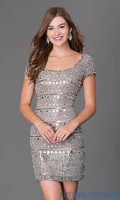 Short Sleeve Silver Gray Sequin Homecoming Dress at SimplyDresses.com