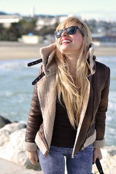 Sheepskin jacket, jeggings, Rayban Wayfarer and Timberland boots - #outfit comfy winter 2014 italian fashion blogger It-Girl by Eleonora Petrella #outfitoftheday #outfitpost #look #style #ootd #outfitideas #itgirl #styleblog #pretty