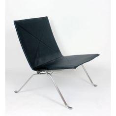 Poul Kjaerholm pk22 lounge chair, black leather-3