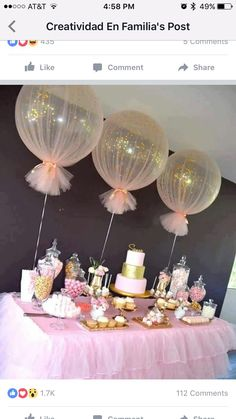 pink ballon byb shower table