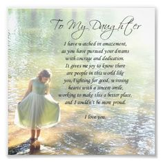 To My Daughter Little In Water Poem Print Craft Work Pinterest And
