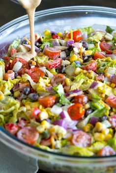 If you're familiar with our cowboy caviar or cowboy pasta salad, you should be pretty excited to see this cowboy salad. Similar to the pasta variety (just without the noodles) this is a hearty salad recipes Cowboy Salad Healthy Salad Recipes, Vegetarian Recipes, Chopped Salad Recipes, Summer Salad Recipes, Vegetable Salad Recipes, Easy Summer Salads, Dinner Salad Recipes, Summer Corn Salad, Lettuce Salad Recipes