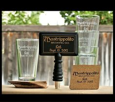 BEER Set: Custom Tap Handle,Personalized Pint Glasses & Matching Custom Coasters.Gift for Men,Gift for Him,Dude Gift,Valentines Gift for Him. $95.00, via Etsy.