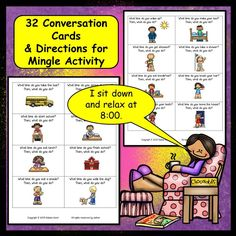Conversation Cards Present Tense/ Daily Routines:  A fun, engaging mingle activity for ESL students.