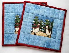 Quilted Potholders  Insulated Winter Christmas by RedNeedleQuilts, $25.00