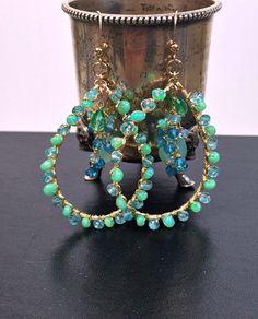 Opal Earrings Mint Aqua Green Gem Hoop Wire by DoolittleJewelry