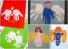 Handabdruck zu Weihnachten Engel Schutzengel Kinder #bastelideen #weihnachtskarten #christmascards