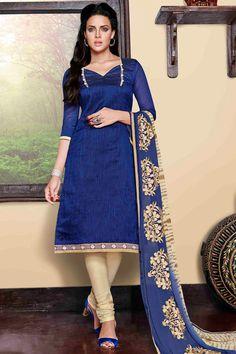 USD 25.00 Blue Chanderi Silk Churidar Suit 48507