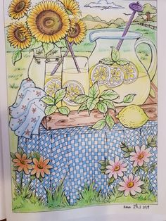not easy to create the see through effect of the glass jug. i think i did it. not perfect though. Creative Haven Coloring Books, Summer Scenes, Glass Jug, Country Charm, Drawing Techniques, Adult Coloring, Pencil Drawings, Colored Pencils, Gardens