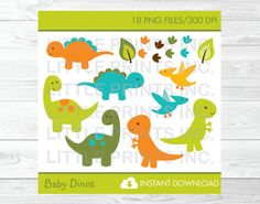 Baby Dinosaur Clipart PERSONAL USE Instant by LittlePrintsParties
