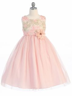 Peach Embroidered Bodice w/ Tulle Skirt Dress