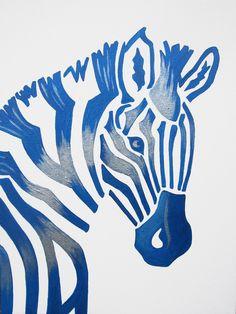 Blue Zebra Safari Nursery Art Zoo Animal. Jungle Theme Kids / Baby Room Decor (painting not a print).. $60.00, via Etsy.
