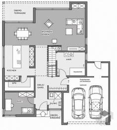 Grundrisse einfamilienhaus mit doppelgarage Bauhaus, Green Cafe, Villa, Floor Plans, Architecture, Interior, Home Decor, Build House, Deko