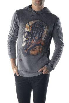 Sweatshirt skull Printed Sweatshirts, Mens Sweatshirts, Hoodies, Grey Sweatshirt, Graphic Sweatshirt, Grey Pattern, Pattern Print, Joy, Long Sleeve