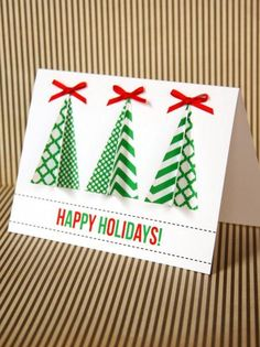Assemble 3-D Trees and Glue to Handmade Christmas Card