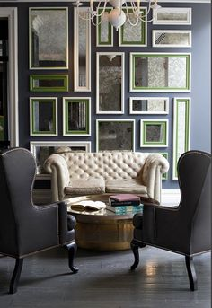 Can You Use Gray Paint in a North Facing Room? - laurel home | fabulous art wall of antique mirrors brightens up a dim room