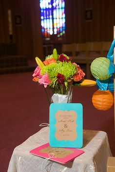 cute wedding programs - DIY. I would do the blue instead of brown with a yellow or gray border.