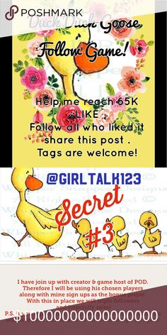 My Duck Duck Goose Follow Game! TAGGERS WELCOMED❤️ Second picture is my DUCKY3 SECRET GAME not the regular follow game. This one gets you faster results! To learn more visit my closet and look for this game! Jeans Boot Cut