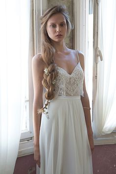 Dress No.3  from Tali Handel wedding dresses 2016 - Two pieces wedding dress. High waisted a-line chiffon skirt with draping at the end of the skirt.Sheer lace embrodiered detailing in the crop top, small shoe strings straps-  see the rest of the collection on www.onefabday.com
