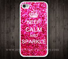 iphone case 4s, iphone 4 case, iPhone 4s Case, Keep Calm and sparkle Painting white hard case for iphone 4, iphone 4S. $9.99, via Etsy.
