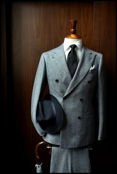 BLACK HAT AND BLACK TIE: Make this double breasted grey suit a sharp wear and wardrobe addition!