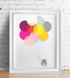 Balony - Szare-Kropki - Plakaty dla dzieci