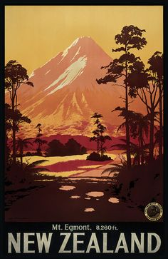 Mt Egmont - reproduction of a NZ Govt Dept Tourism promotional poster. www.imagevault.co.nz