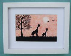#Giraffe #Picture# Framed: #Mothers Day #Gift, #Original #Art #Drawing, Giraffe Gift Art £24.00