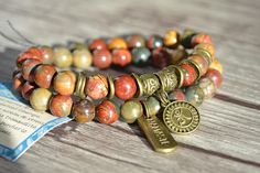READY to ship: OM NAMASTE autumn Jasper Bracelet, made of quality AA Jasper stones. Price $ 39, on sale for $ 32 Jasper stones increase energy, lower stress levels and bring tranquility. Jasper helps to purify the body of toxins. Bracelet double elastic, very versatile. This is a