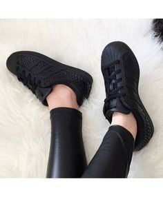 Adidas Superstar Black - Buy Genuine Adidas Superstar Rose Gold, Iridescent, Glitter, Junior Shoes, Top Quality and Save Up To Order Now! All Black Adidas, Black Adidas Shoes, Adidas Shoes Women, All Black Sneakers, Shoes Sneakers, Black Leather Shoes, Black Shoes, Souliers Nike, Adidas Originals