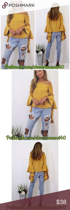HP Claire Off Shoulder Top Claire Off Shoulder Top  A solid off shoulder top with an off-shoulder neckline and gorgeous layers on sleeves . Perfect piece to add to your fall collection.  * Cotton * Model is wearing size small * Runs true to size Tea n Cup Tops