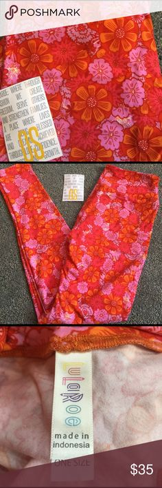 Brand New Lularoe Hippie Flower Pants Brand New Lularoe Leggings. Different shades of pinks and orange make these perfect for spring and summer. LuLaRoe Pants Leggings