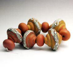 Beautiful! SRA Lampwork Glass Bead Set Etched Terra by StoneDesignsbySheila, $45.00