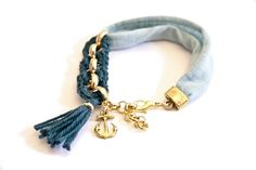 bracelet mint blue petrol green crochet anchor by gudbling on Etsy, €29.00