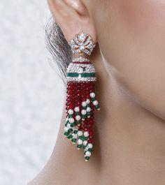 Red Embellished Fringe Jhumki Earrings